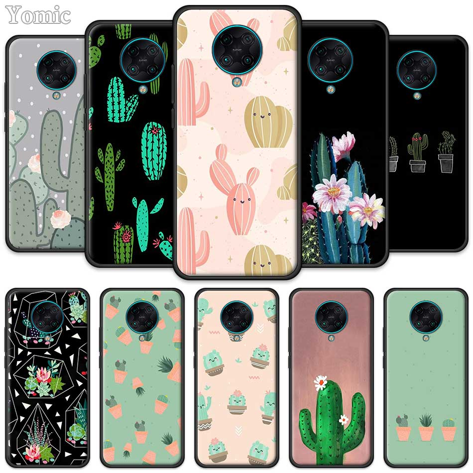 Silicone Soft Case For Xiaomi Redmi Note 8 8T 9S 9 K20 Pro K30 Zoom 8A 6 7 Black Phone Bag Cover Cactus Cactus Design