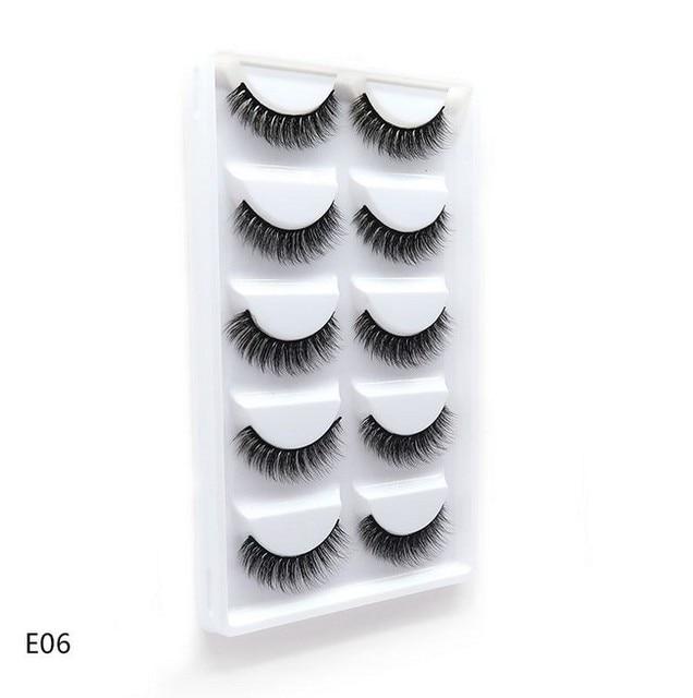 5 Pairs 3D Faux Mink Hair False Eyelashes Natural Long Eye Lashes Wispy Makeup Beauty Extension Tools 2