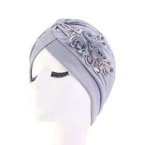 Image 4 - Sequins อินเดียมุสลิมผู้หญิง Ruffle ดอกไม้มะเร็ง Chemo Hat หมวกผ้าพันคอหัวหมวก Turban Headwear Bonnet Skullies Beanie ใหม่