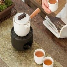 1 Набор чайный чайник с подогревом красивый изящный новый керамический подсвечник с подогревом чайный обогреватель