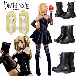 Anime Death Note Misa Amane Cosplay Costumes Imitation Leather Sexy Tube Tops Lace Black Dress Uniform Outfit Amane Misa Costume