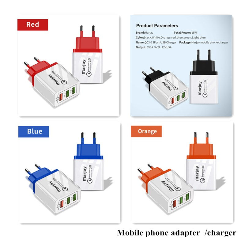 2.4A Universal USB Charger EU Plug Travel Wall Mount Mobile Phone Fast Charger Adapter Light Charger Fast Charge QC 3.0 4.0