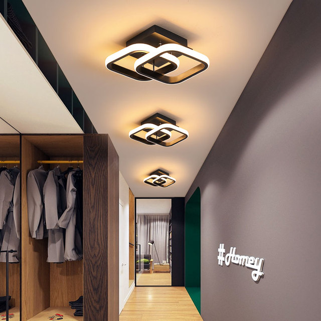 Ev için Modern tavan lambası Led parlaklık için siyah & beyaz küçük yatak odası için tavan ışık Led koridor ışık balkon ışıkları armatürler