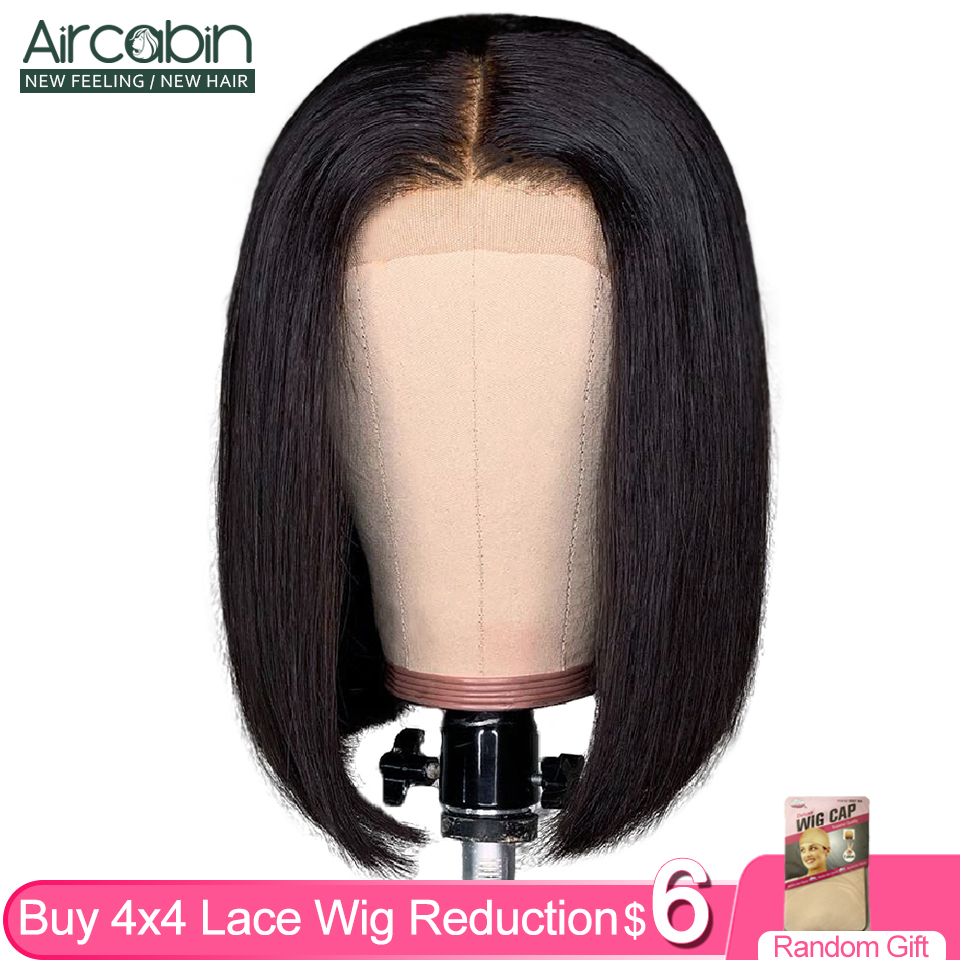 Aircabin Glueless 4x4 Lace Closure Wig Brazilian Human Hair 8
