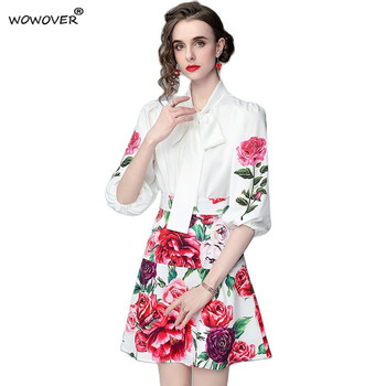 Elegant Lady Sweet Suit Summer Runway Designers Bow Collar Floral Print White Shirt and Skirt 2 Piece Dress Set Party Outfit 1