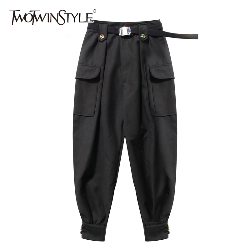 TWOTWINSTYLE Casual Women Ankle-Length Pants High Waist With Sashes Cargo Pant For Female Fashion Clothing 2020 Spring Tide