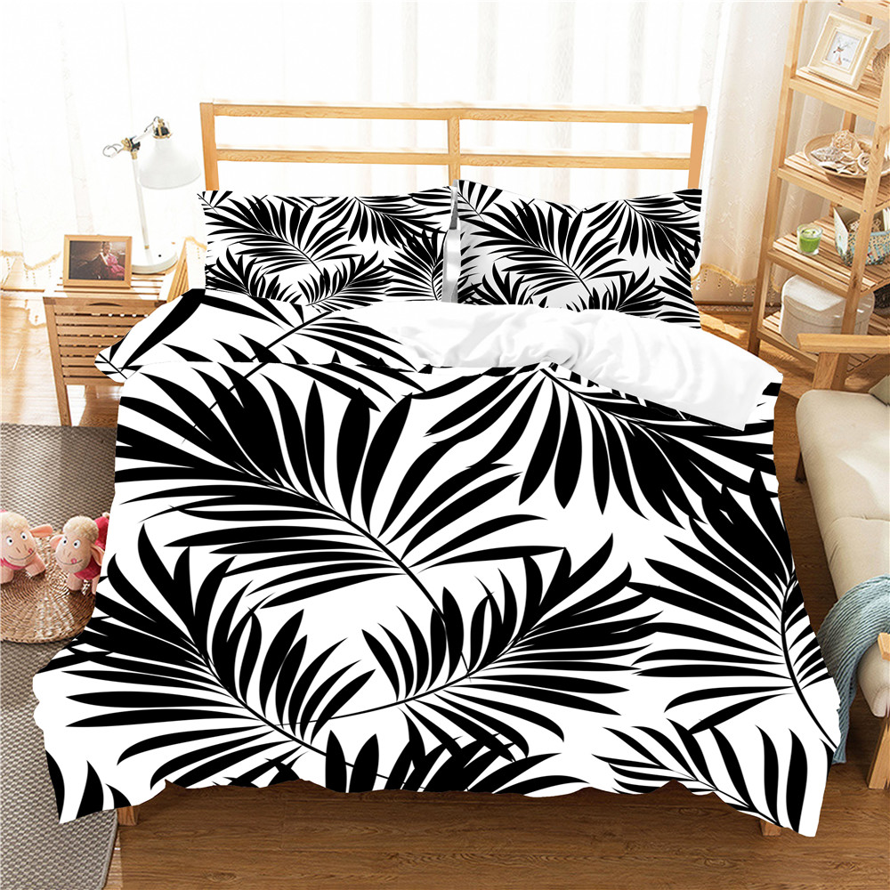 Black Leaves Home Hotel Decor Bed Cover Pillowcase 2/3 Piece Single Double Plants Theme Bedding Sets Bed Linen Set Bedspread