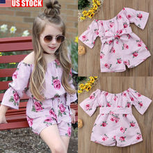 цена personality trend Canis Kid Baby Girl Off Shoulder Romper Party Long Princess Dress Outfit Clothes lovely онлайн в 2017 году