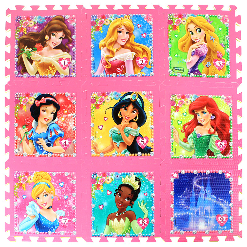 Princess 9pcs/pack Girl Foam Mat Mickey Minnie 30x30cm Per Piece Frozen Baby Child Play Floor Mat  Game Carpet Crawling Mat