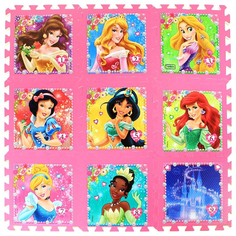 Princess 9pcs/pack Girl Foam Mat Mickey Minnie 30x30cm Per Piece Frozen Baby Child Play Floor Mat  Game Carpet Crawling Mat
