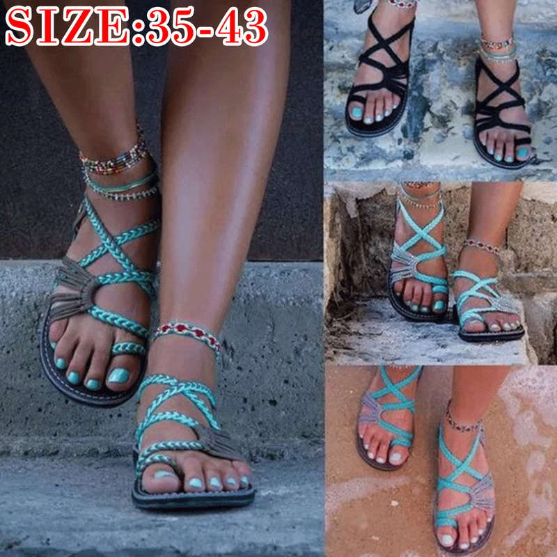 New Girls Summer Sandal Woman Knitted Cross Toe-sliding Sandals Beach Outdoor Casual Soft Shoes For Women Wearable Sandals