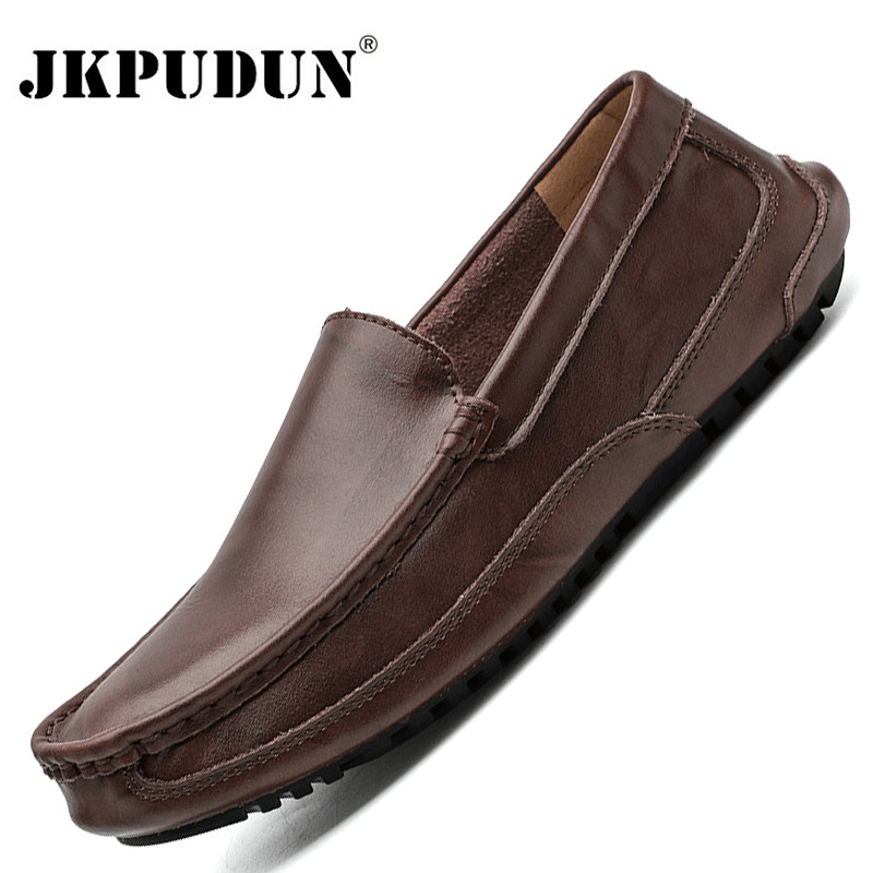 Genuine Leather Men Casual Shoes Luxury Brand 2020 Mens Loafers Moccasins Breathable Slip On Male Driving Shoes Plus Size 38-48