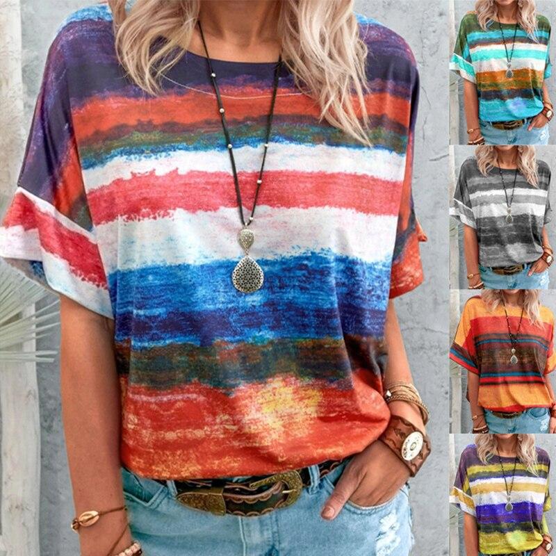 New Summer Tie Dye Gradient Women Print T Shirt O-Neck Loose Tops Casual Streetewear Ladies Tee Top Plus Size