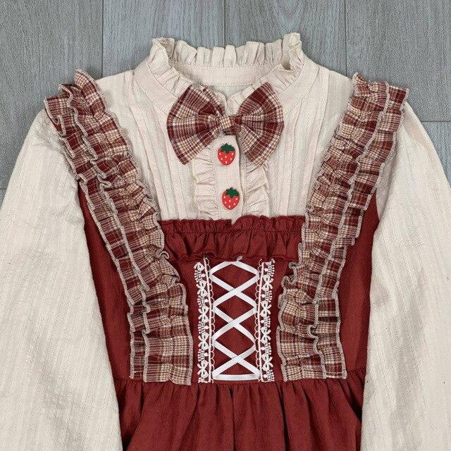 Купить японское винтажное платье лолиты с бантом и подставкой каваи картинки цена