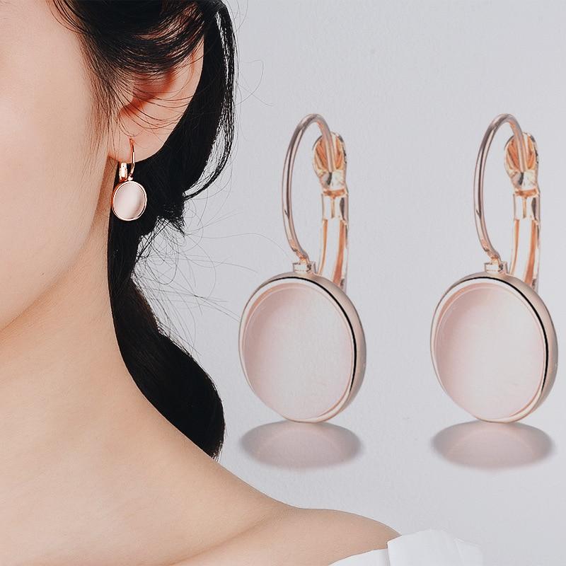 Bague Ringen Temperament Gemstone Earrings for Women Elliptical Cat's Eye Stone Rose Gold Color Silver 925 Jewelry Dating gift