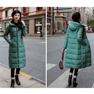 Image 5 - Uzun kapşonlu kalınlaşmak İnce sıcak aşağı palto kadınlar Casual katı cepler fermuar kış pamuk dış giyim kadın artı boyutu ceket ceketler