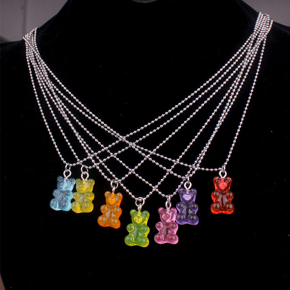 Creative Gummy Bear Necklace Multicolor Resin Candy Pendant Necklace for Women Girls