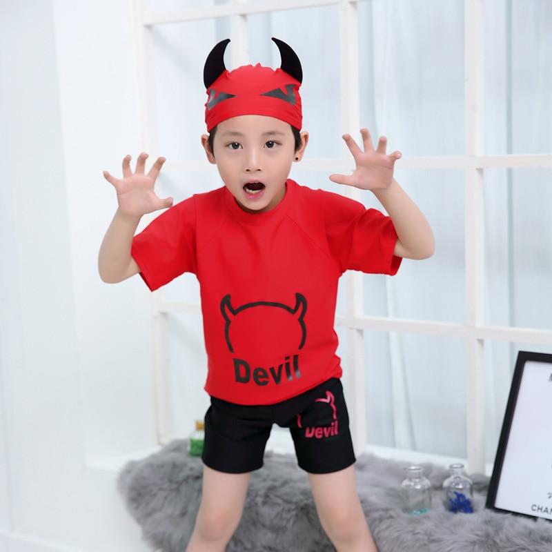 Children Two-piece Swimsuits Cute Cartoon Little Devil Modeling AussieBum Set BOY'S Swimsuit