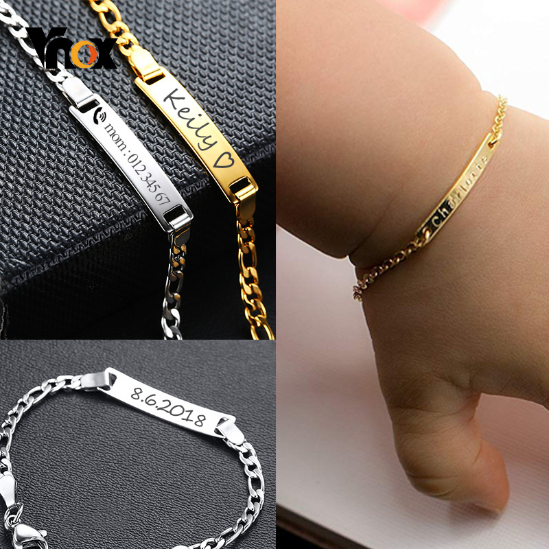Vnox Personalize Custom Baby Name Bracelet Gold Tone Solid Stainless Steel Adjustable Bracelet New Born To Child Girls Boys Gift