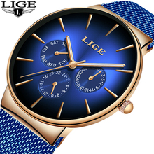 Relogio Masculino LIGE New Blue Clock Mens Watches Top Brand Luxury Casual Mesh