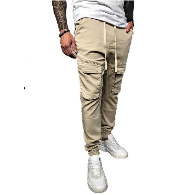 Pantalones de carga para hombre, Casual, Multi-bolsillo, para hombre, pantalones para correr, pantalones de chándal de talla grande, M-3XL, elásticos, ceñidos