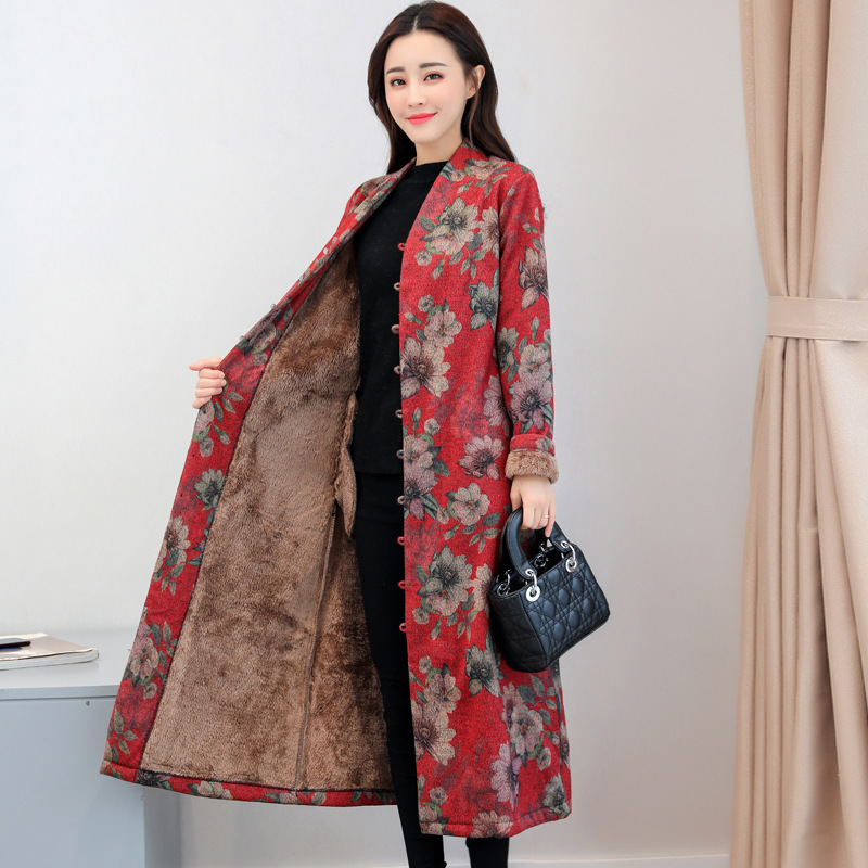 Fi3518 Cotton-padded Clothes Women's Long 2019 Winter Ethnic-Style Printed Brushed And Thick Retro Wool Cotton Coat