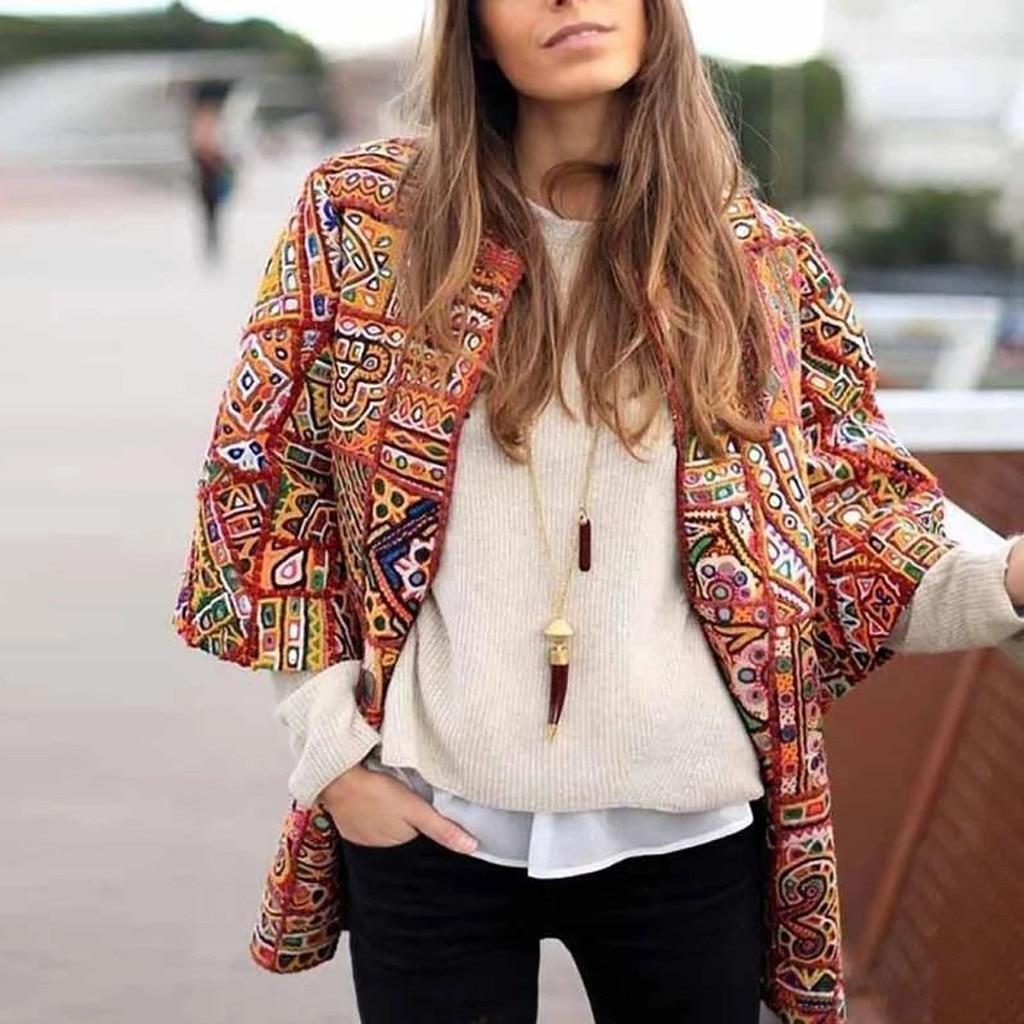 2019 Fashion Elegant Blazer Feminino Women Floral Long Sleeve Blazer Notched Collar Coat Female Outerwear Plus Size S-3xl#3