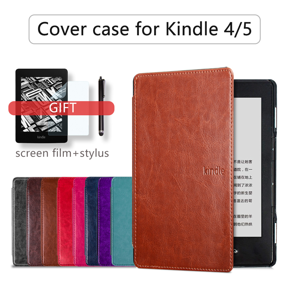 >folio case for Amazon kindle <font><b>basic</b></font> <font><b>4</b></font>/5 pu leather cover for kindle <font><b>4</b></font> 5 case magnet cover for kindle 5 capa+free gift