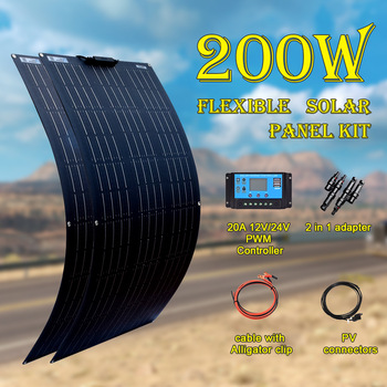 Boguang 2pcs 100 W solar panel kit 200 watt Panneau solaire flexible with controller for 12V 24V battery car RV home charging