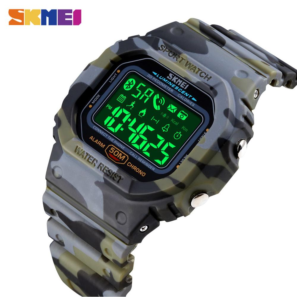 SKMEI 5Bar Waterproof Pedometer Calendar Military Bluetooth Sport Men's Watches Male Digital Wristwatches Relogio Masculino 1629