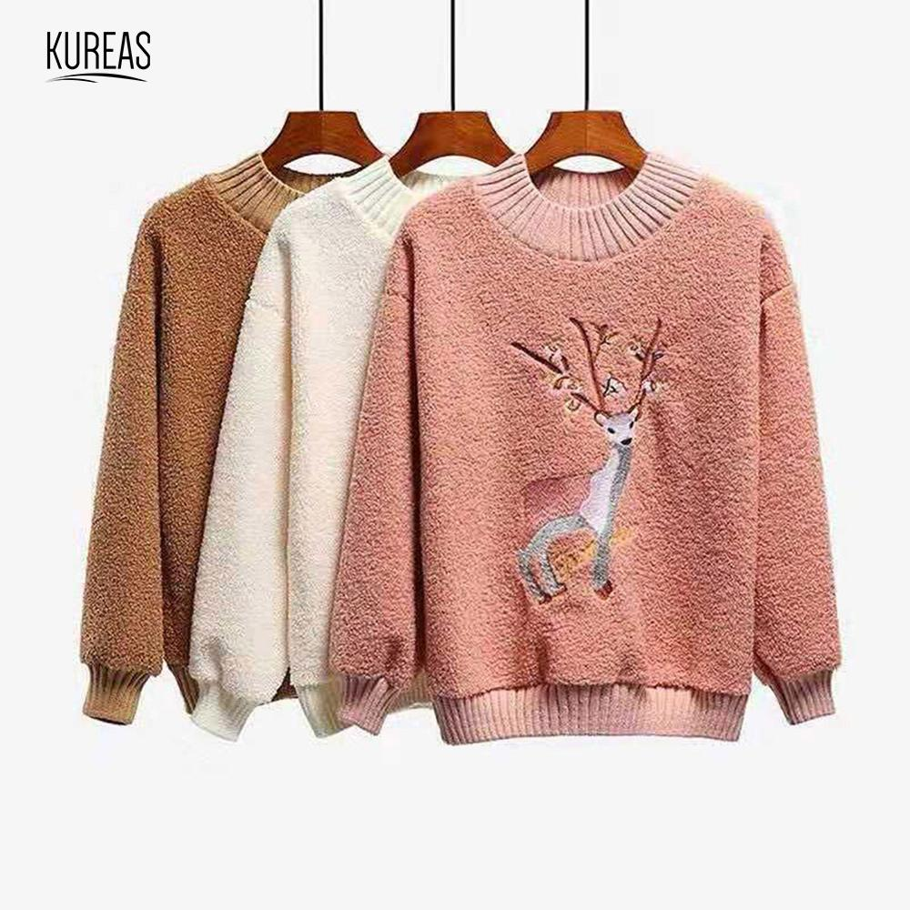 Kureas Women Sweater Lamb Wool Winter Autumn Thicken Fluffy Warm Casual Jumpers Long Sleeve Fleece Pullover Tops Christmas Deer