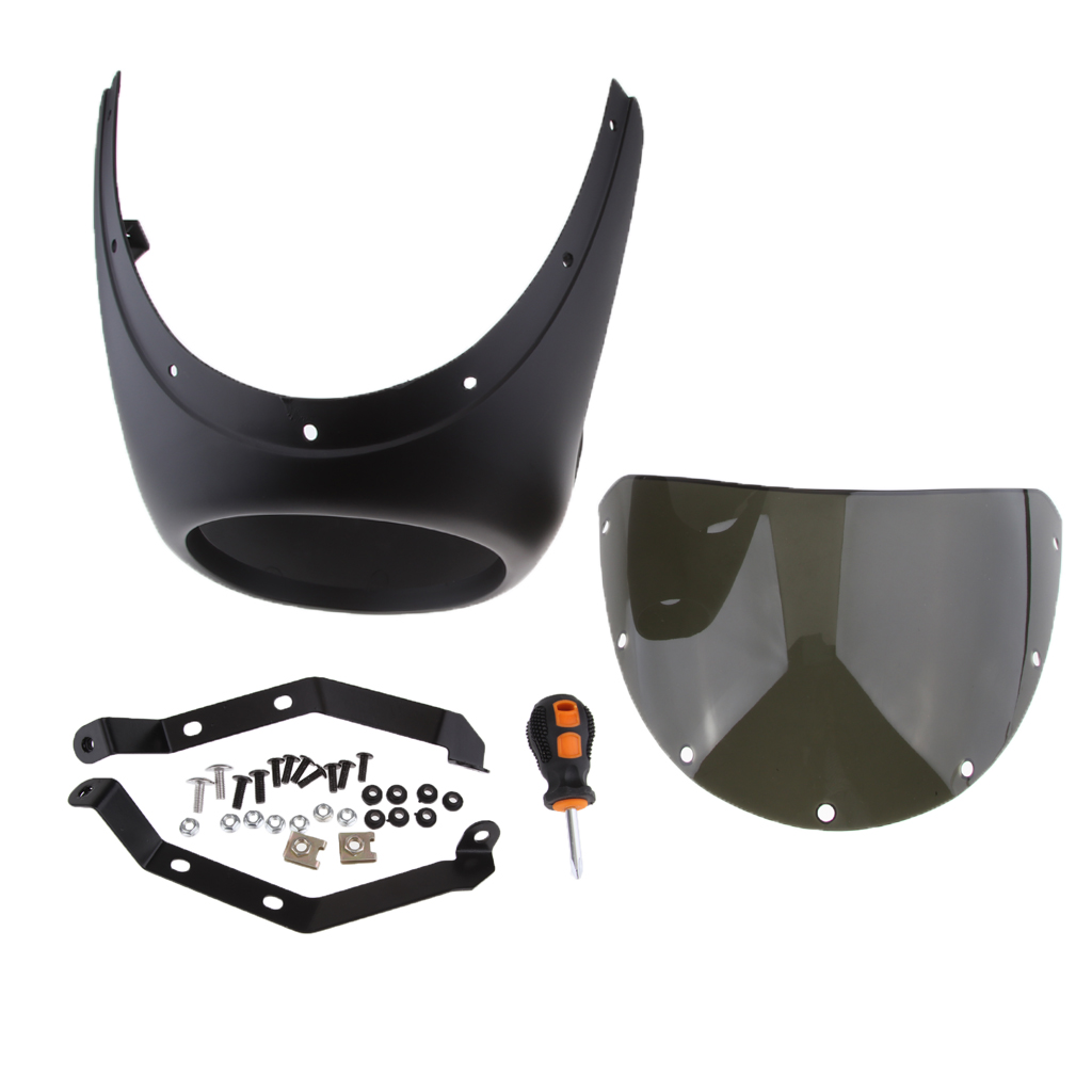 Motorcycle Front Headlight Fairing Screen Retro Cafe Racer Style Universal Windshield Fit 7 Inch Head Light, Black & Smoke