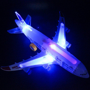 Image 4 - DIY Assembly Airbus Aircraft Autopilot Flash Sound Aircraft Music Lighting Toys Electric Airplane DIY Toy for Children Kids Gif