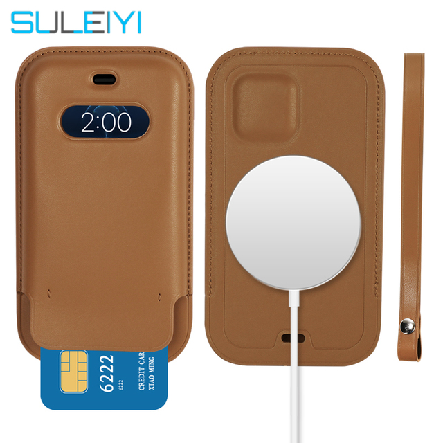 Luxury Original Support Wireless Charging Wallet Case For iPhone 12 Pro Max Magsafe Case For iPhone 12 Leather Card Bag Cover