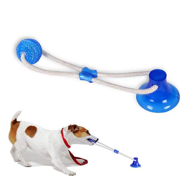 Suction Cup Dog Push Toy with Ball Pet Tooth Cleaning Chewing Rubber