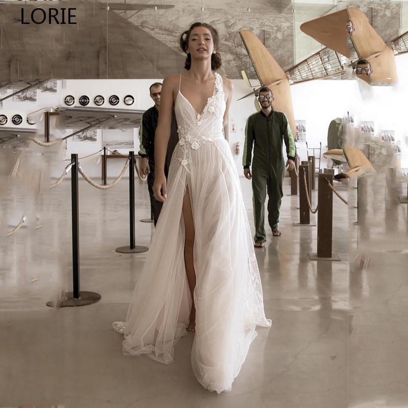 LORIE Sexy Boho Wedding Dress 2019 High Side Split Spaghetti Straps Lace Bridal  Dress Wedding Gowns Vestidos De Novia