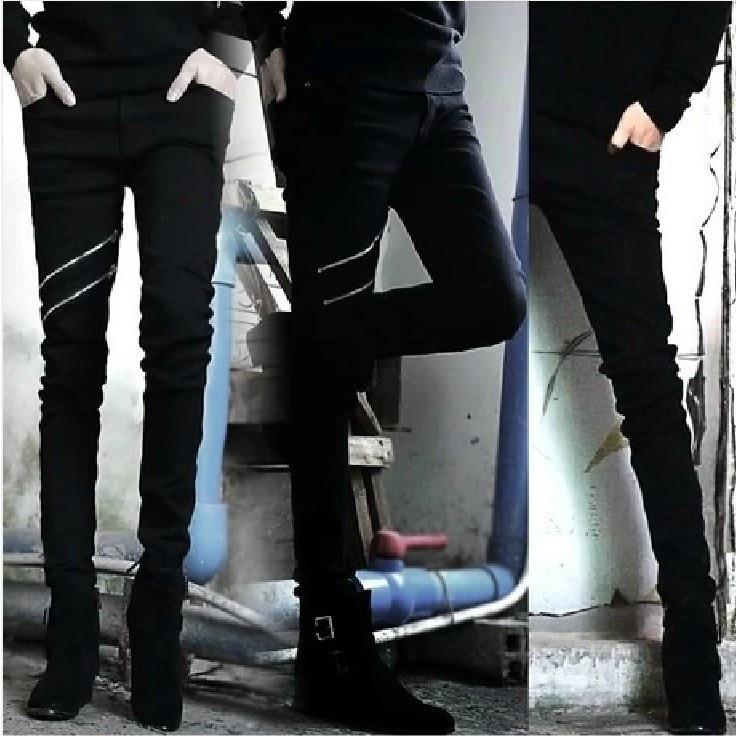 Leggings Korean-style Zipper Men's Trousers Solid Black Slim Fit Skinny Pants Men's Trousers MEN'S Jeans