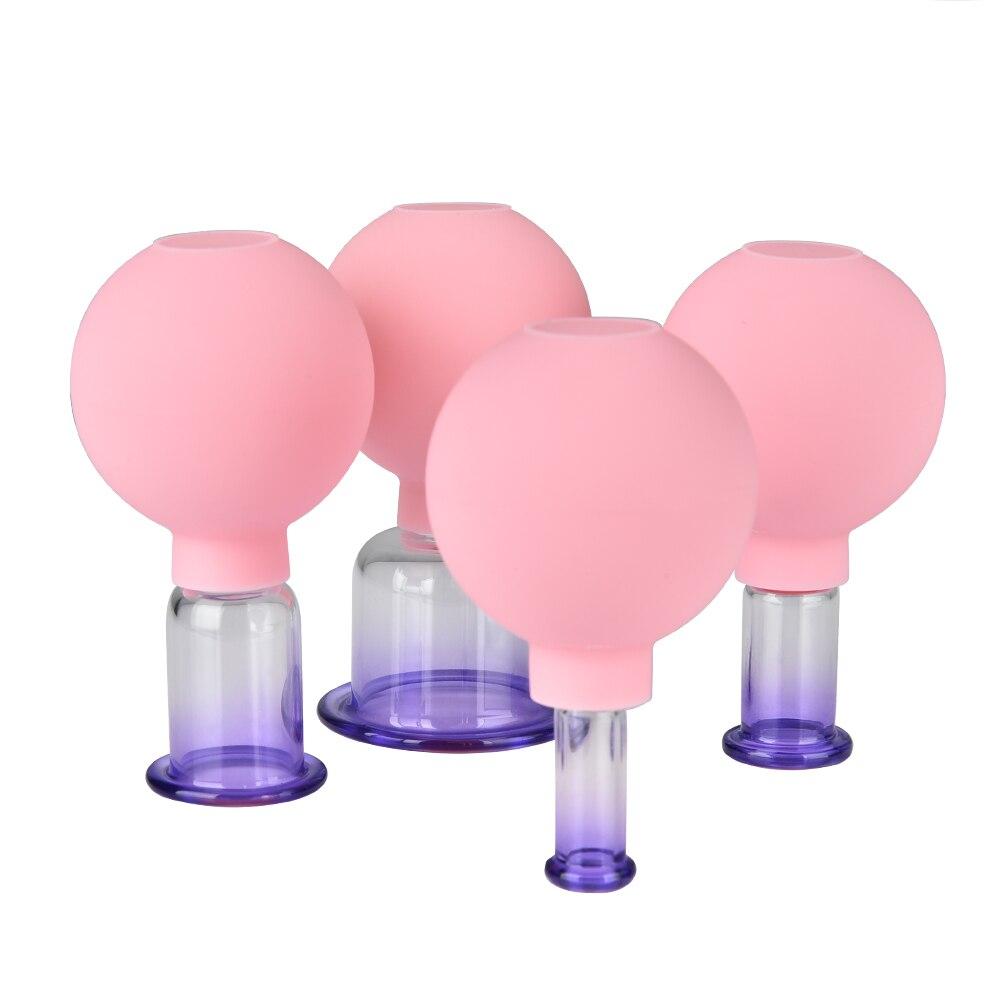 4 Teile/satz Gummi Kopf Glas Vakuum Schröpfen Tassen Familie Körper Massage Saug Dosen Hause Gesundheit Pflege Werkzeuge Chinesischen Vakuum Therapie