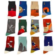 Осенне летние мужские носки с ручной росписью в абстрактном
