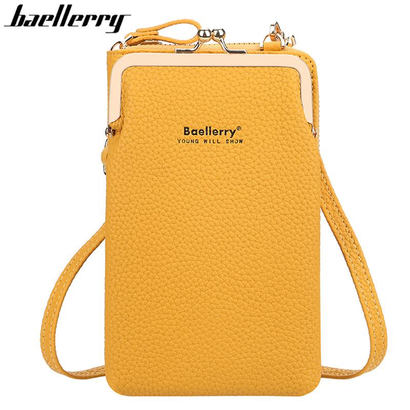 Baellerry Fashion Crossbody Bags Women Mini PU Leather Shoulder Messenger Bag For Girls Yellow Bolsas Ladies Phone Purse Zipper