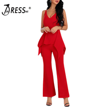 INDRESSME 2019 New Fashion Sexy Women V Neckline Strap Sleeveless Flares Full Length Party Club Bodycon Jumpsuit Wiht Ruffles