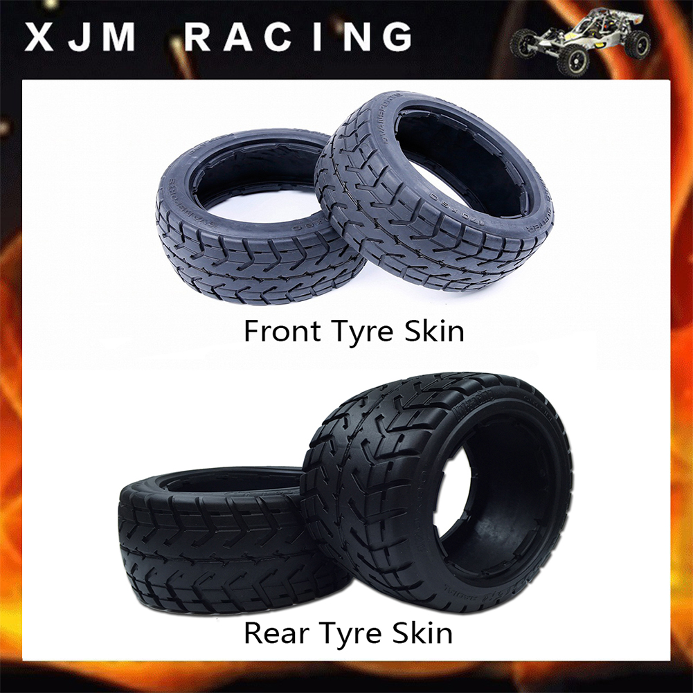On-road Front and Rear Tyre Skin Set for 1/5 Hpi Rovan Km Baja 5b Rc Car Parts