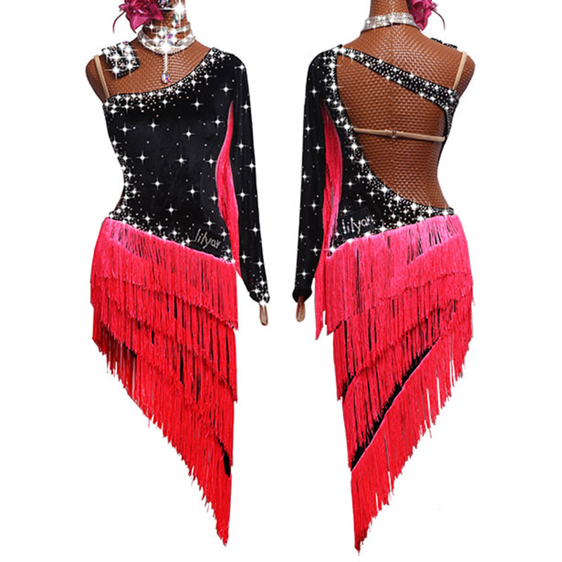 Latin Dance Dress Shiny Rhinestone Black Velvet Fringed Competition Dresses Salsa Rumba Chacha Samba Stage Show Wear Lady DN3541