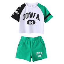 2020 sommer trainingsanzüge baby mädchen Kleidung basketball lose hip hop T Shirt + Shorts hot pant Teenager 3 4 5 6 7 8 9 10 11 12 jahr(China)