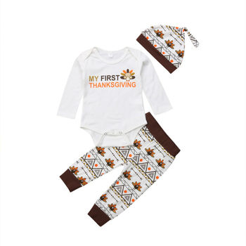 turkey print set newborn kids baby boy girl clothes my first thanksgiving letter long sleeve boysuit pants outfits set 0 2t New Baby Clothes Set My First Thanksgiving Outfit Autumn Newborn Infant Toddler Girls Boys Kids Cotton Bodysuit Turkey Pants Hat