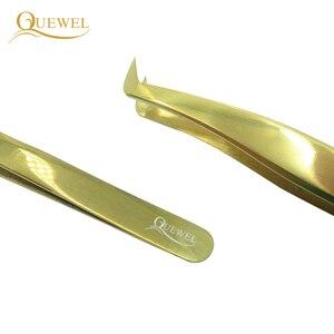 Image 2 - Zestaw pincet Quewel z przedłużoną pęsetą antystatyczną pincetą ze stali nierdzewnej precyzyjne, kwasoodporne narzędzia do rzęs