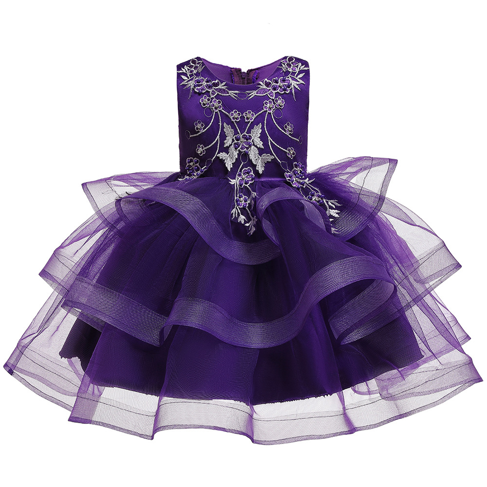Hot Sales New Style Girls Birthday Send Embroidery Beaded Bracelet Dress Multilayer Cake Dress Children Princess Tutu