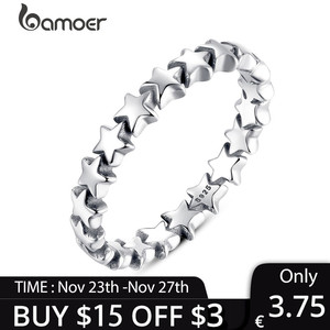 [Coupon $15 OFF $3] BAMOER 2020 HOT SALE Silver 925 Star Ring For Women Wedding 100% 925 Sterling Silver Jewelry PA7151