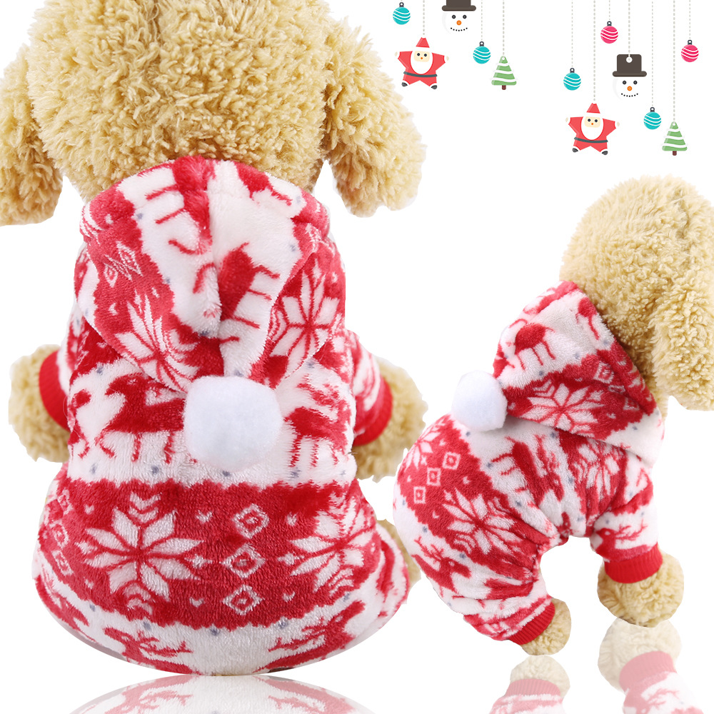 Dog Clothes Pajamas Jumpsuit Winter Pet Clothes Puppy Hoodies Fleece legs Warm Dog Clothing Outfit Small Dog Costume Apparel 17