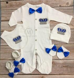 MIYOCAR w wieku 0-6m wszystkie bawełna dziecko korona z kryształkami ubrania zestaw body jednoczęściowe zestaw unikalny baby shower prezent bling dla dzieci ubrania s6